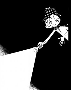 A detective pointing with a flashlight