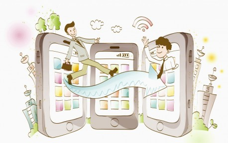 Smart phones and office workers with an arrow